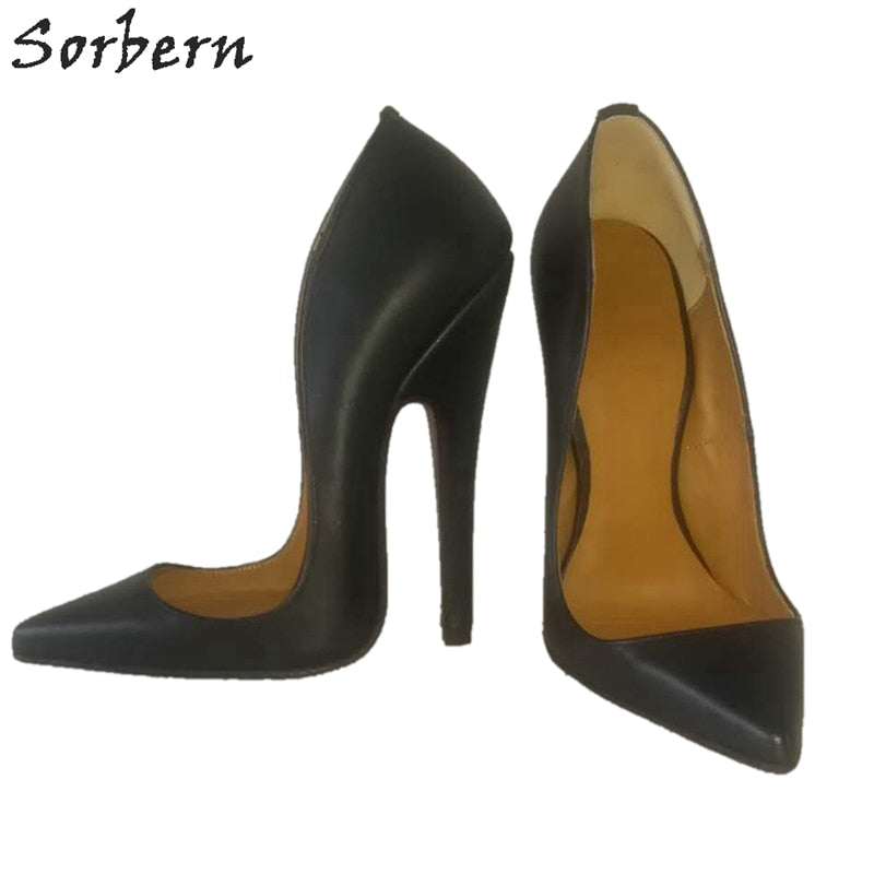 Sorbern Sexy Women Pump Genuine Leather Shoes Female Pointed Toe Slip On Stilettos High Heel Ol Shoes Womens Spring Fashions
