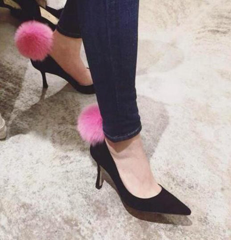Image of Spring autumn newest celebrity high heel shoes pink fur pom pom pointed toe woman pumps sexy dress high heels