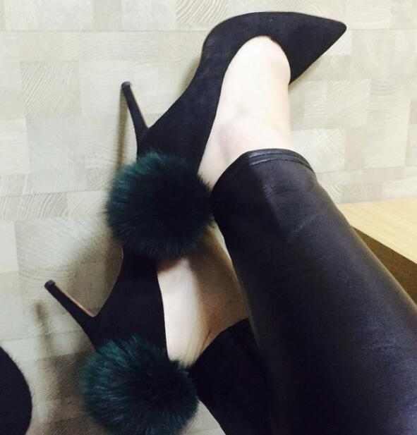 Spring autumn newest celebrity high heel shoes pink fur pom pom pointed toe woman pumps sexy dress high heels