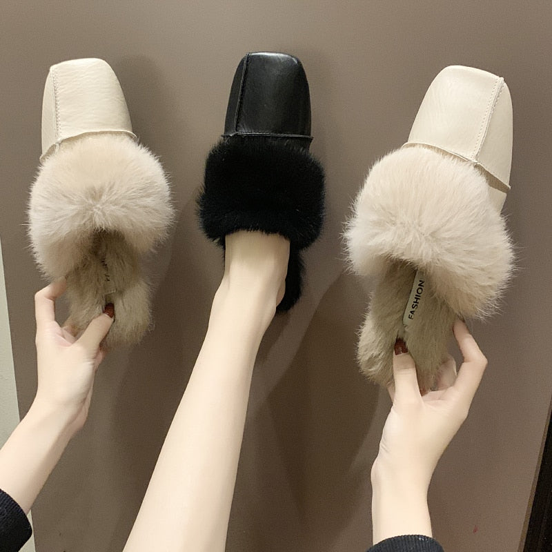 Square head fur hairy slippers women 2019 winter new fashion non slip outer wear flat bottom baotou half drag Muller shoes