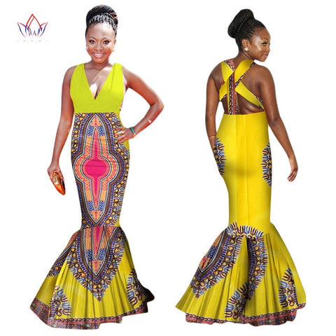 Image of Summer Dress Plus Size Women Clothing 6XL Dashiki Afria Style Sleeveless Sexy Backless Dress Bodycon Mermaid Maxi Dresses WY1327