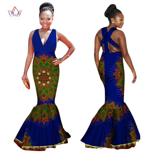Summer Dress Plus Size Women Clothing 6XL Dashiki Afria Style Sleeveless Sexy Backless Dress Bodycon Mermaid Maxi Dresses WY1327