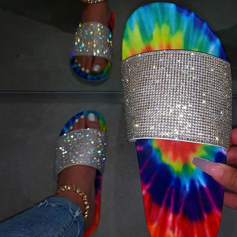 Summer Women Sandals Rainbow Bling Slippers Ladies Crystal Slides Flat Glitter Sandals Beach Shoes Female Sandalia Feminina