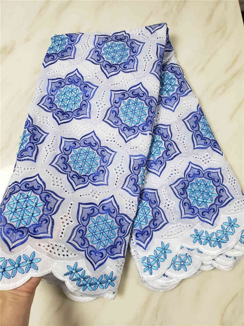 Swiss Voile Lace In Switzerland High Quality 2018 White+Blue Voile Lace Swiss Lace African lace African Dresses For Women SLL140
