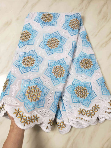 Image of Swiss Voile Lace In Switzerland High Quality 2018 White+Blue Voile Lace Swiss Lace African lace African Dresses For Women SLL140