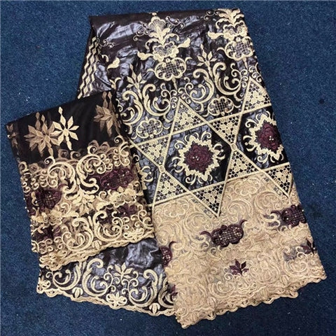 Image of TQ002 5+2Yard African Bazin riche getzner 2018 African Brocade Bead Net Lace Fabric High quality Nigerian lace for Wedding Dress