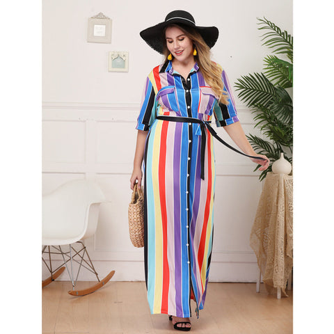Image of TUHAO Women Striped Color Matching Loose Rainbow Maxi Dresses Laced Up Large Size Long Shirt Dress With Sashes HC284