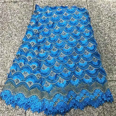 Image of Teal Green African Mesh Lace Fabric 2018 High Quality Embroidered Nigerian Guipure Laces Fabric With Beads For Women NLY27-4