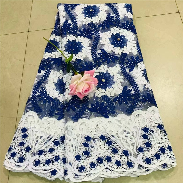 Tollola High Quality 2019 Tulle Beaded French Nigerian Lace Fabrics Pearls Embroidered Guipure African 3d Lace Fabric