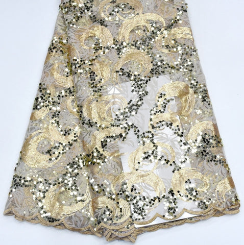Image of Top Quality African embroidered Tulle Lace Fabric with sequins for party Royal blue