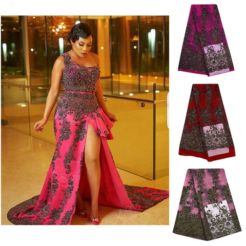 Image of Tulle Embroidered Net Lace African French Laces Fabrics High Quality Nigerian French Net Lace With Stones Swiss Lace Fabric S697