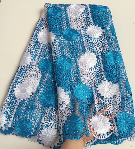 Image of Turquoise Blue White sunflowers embroidery cord lace African guipure lace fabric with lots of stones beads high quality