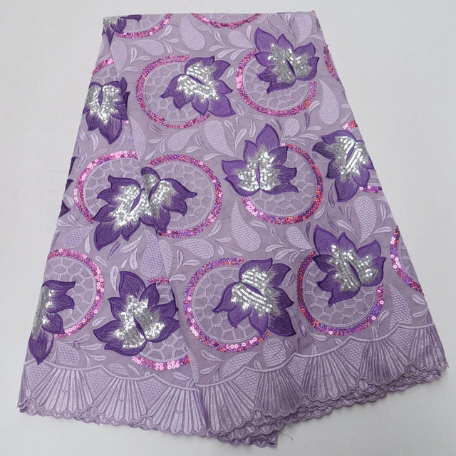 Unique New Lilac Purple 100% cotton swiss voile lace in switzerland with sequins high quality swiss voile laces for party DQ278