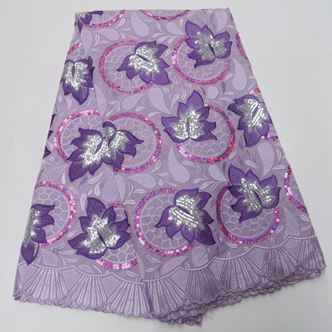 Image of Unique New Lilac Purple 100% cotton swiss voile lace in switzerland with sequins high quality swiss voile laces for party DQ278