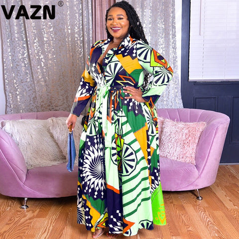 VAZN Hot Plus Size Bohemian Sexy Vintage Lace Up Round Neck Full Sleeve High Waist Women Georgette Fit And Flare Maxi Dress