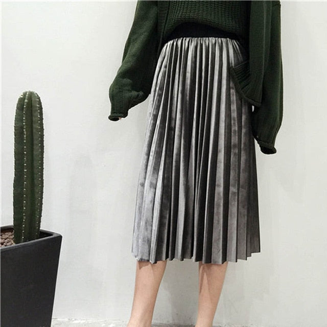 Vintage Plus Size Women Metallic Silver Pleated Long Skirt High Waist Elascity Casual Party Maxi Skirt Korean Fashion Bottoms