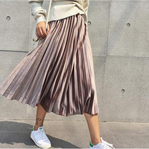 Image of Vintage Plus Size Women Metallic Silver Pleated Long Skirt High Waist Elascity Casual Party Maxi Skirt Korean Fashion Bottoms