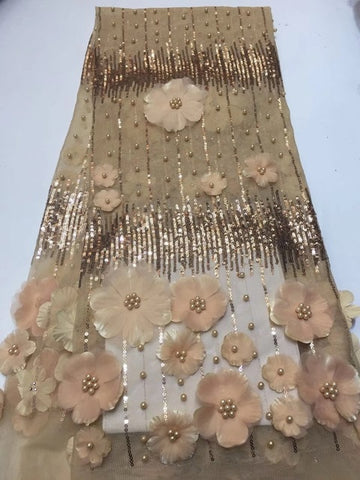 Image of Wedding Lace African French Lace Fabric High Quality, 3D Beaded Lace Fabric In Gold, Heavy Beaded Lace Fabric RF376