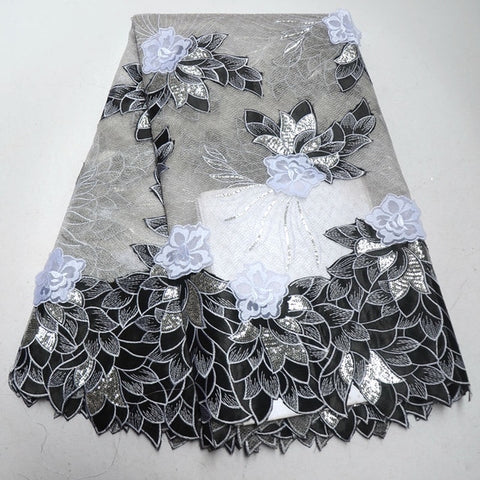 White African Lace Fabric 2018 Embroidered Nigerian Laces Fabric High Quality French organza Lace Fabric With Sequins IG951