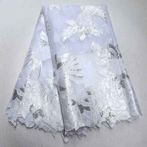 Image of White African Lace Fabric 2018 Embroidered Nigerian Laces Fabric High Quality French organza Lace Fabric With Sequins IG951