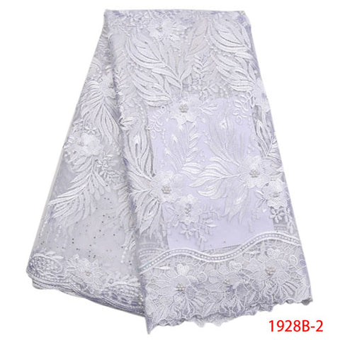 Image of White African Lace Fabric 2018 High Quality Lace Cheap Lace Fabrics With Free Shipping Lace Trimmings For Sewing NA1928B-1