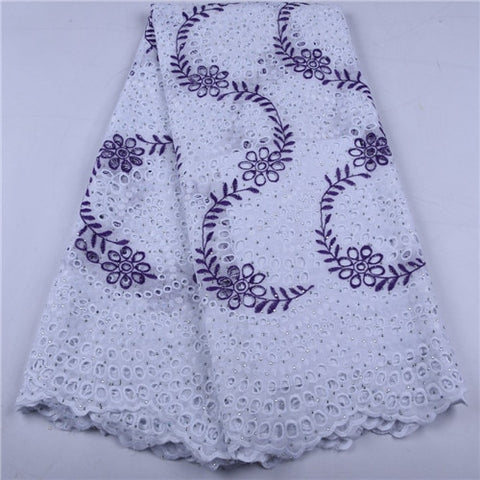 Image of White African Tulle Lace Fabrics High Quality Lace Nigerian Cotton Lace Fabric With Stones Swiss Voile Lace In Switzerland 1657