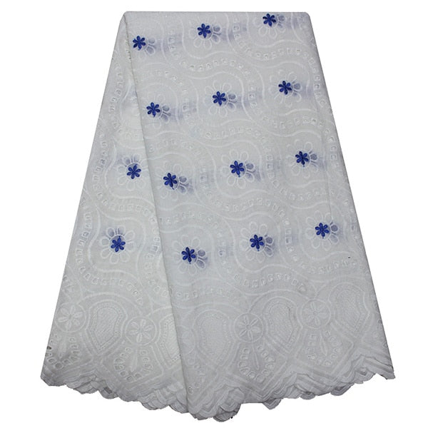 White lace fabric 2019 high quality african swiss fabric hollow out embroidered cotton lace fabrics french lace fabric for dress