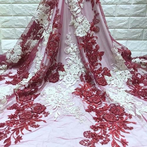 Image of Wholesale Price Beaded Lace Fabric 2019 Fashion African Lace Fabric Tulle With Beaded African French Lace Fabric High Quality