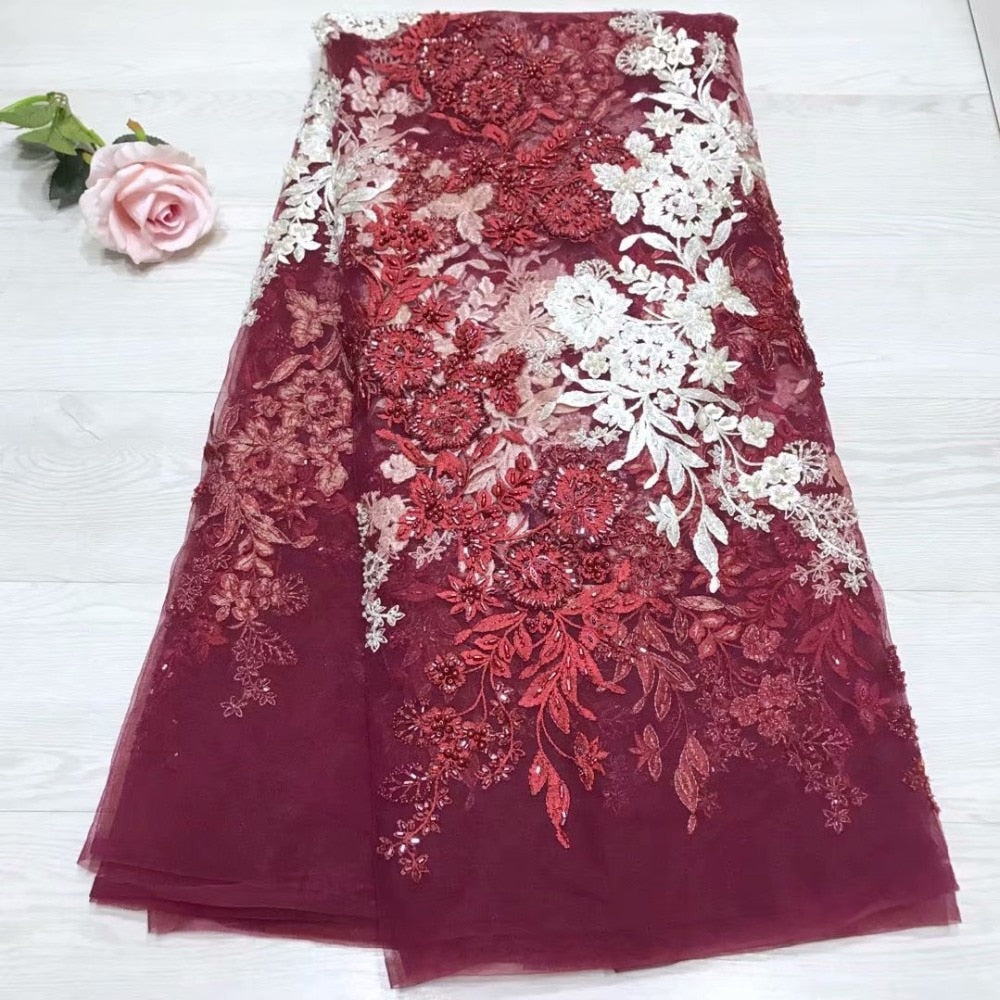 Wholesale Price Beaded Lace Fabric 2019 Fashion African Lace Fabric Tulle With Beaded African French Lace Fabric High Quality