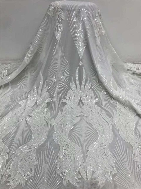 Wholesales wedding lace 2020Popular Luxury Sequince Lace tulle lace fabric High quality For Woman Evening Party Dresses