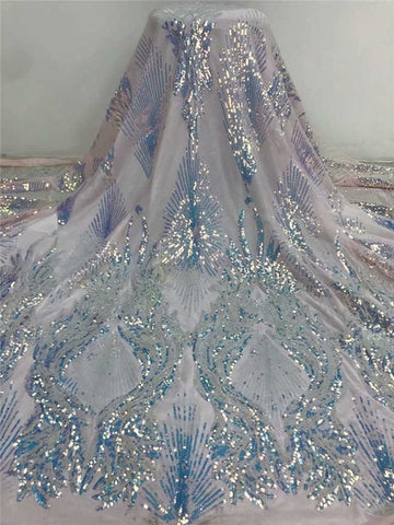 Image of Wholesales wedding lace 2020Popular Luxury Sequince Lace tulle lace fabric High quality For Woman Evening Party Dresses