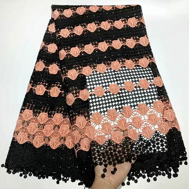 Wine African Lace Fabric High Quality 3d Luxury Fabric For Wedding Embrodery Nigerian French Lace Fabric With Beads