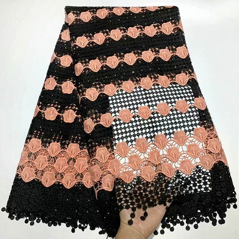Image of Wine African Lace Fabric High Quality 3d Luxury Fabric For Wedding Embrodery Nigerian French Lace Fabric With Beads