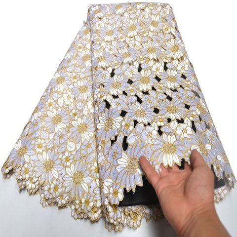 Wine Gold hand cut African lace Latest Swiss Voile Lace In Switzerland embroidery Nigerian sewing cloth high quality 5 yards