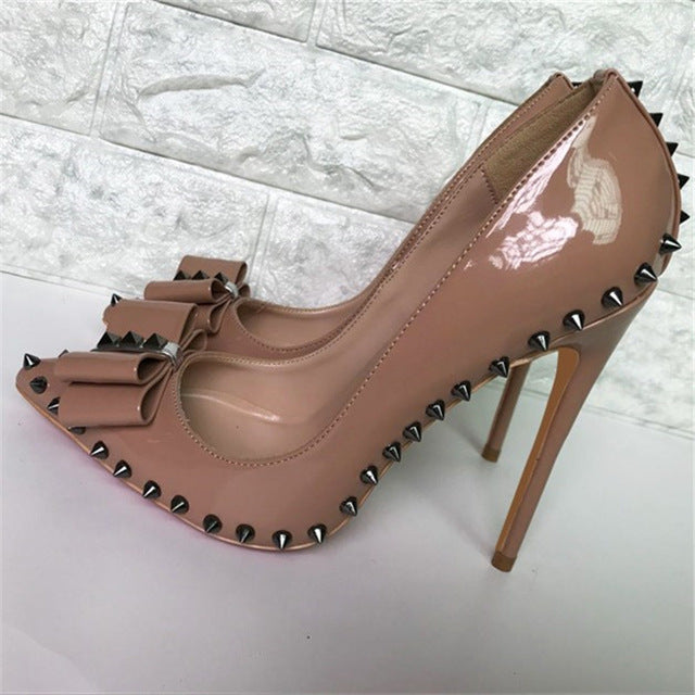 Women Elegant Pointed Toe Nude Patent Leather Shoes Bowtie Rivet Thin Heels Pumps High Heels Formal Dress Wedding Shoes Women