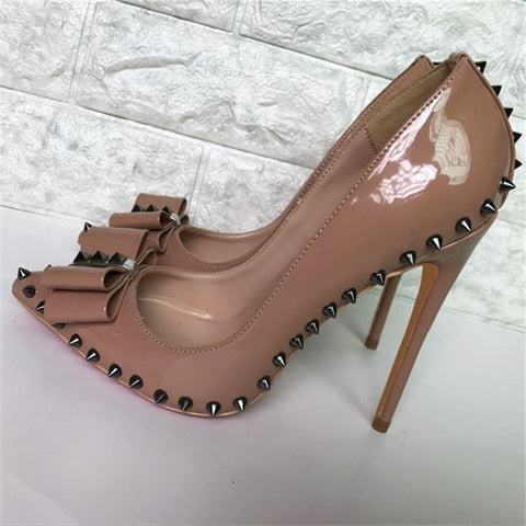 Image of Women Elegant Pointed Toe Nude Patent Leather Shoes Bowtie Rivet Thin Heels Pumps High Heels Formal Dress Wedding Shoes Women