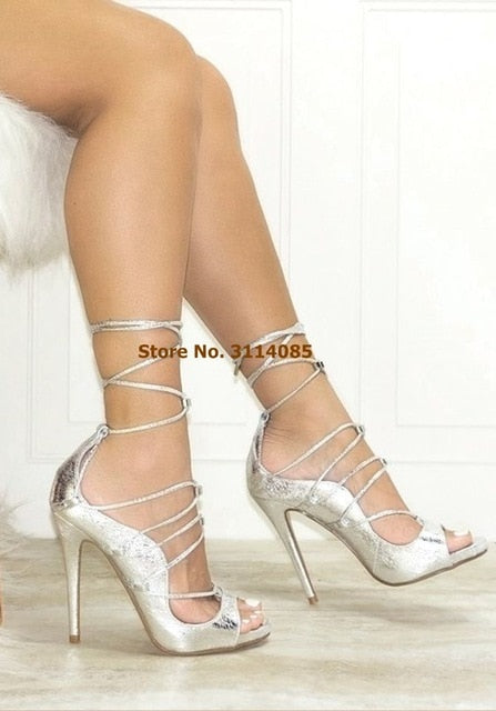 Women Pink Satin Cloth Lace-up Sandals