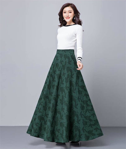 Image of Women Plus Size Vintage Long Skirts Female Leaf Print High Waist A-Line Skirts Elegant Cotton Blend Pleated Maxi Skirt faldas