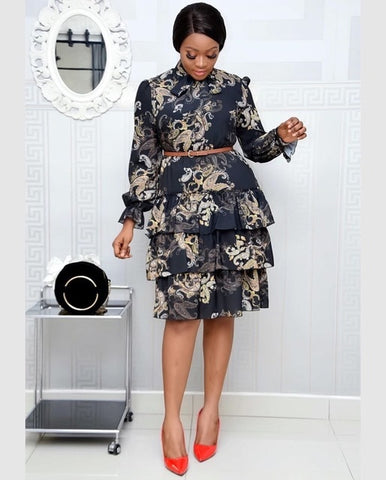 Women Printed Dresses Long Sleeves Bowtie Cake Dress Female Ruffles Pleated Africn Fashion Lovely Date Sweet Vestidos Plus Size