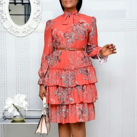 Image of Women Printed Dresses Long Sleeves Bowtie Cake Dress Female Ruffles Pleated Africn Fashion Lovely Date Sweet Vestidos Plus Size