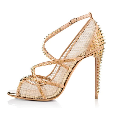 Image of Women Silver Spikes Fishnet ultra High Heels 2020 Sexy Ladies Strappy Pumps Black Mesh Shoes Peep Toe Rivets Sandals Stilettos