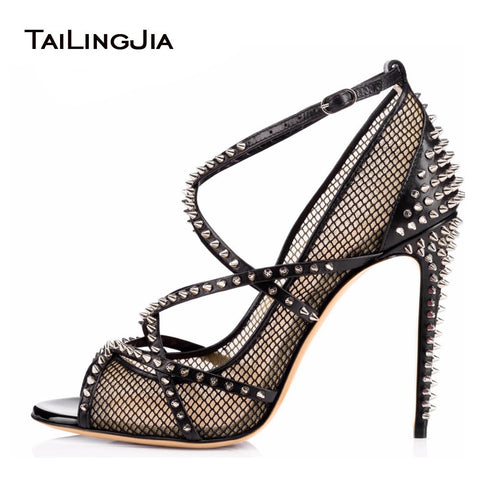 Women Silver Spikes Fishnet ultra High Heels 2020 Sexy Ladies Strappy Pumps Black Mesh Shoes Peep Toe Rivets Sandals Stilettos