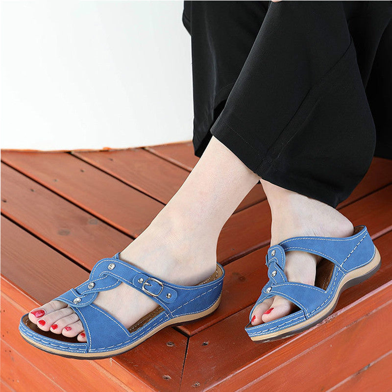 Women Summer Slippers Sewing Open Toe Flat Platform Slides PU Buckle Woman Wedges Sandals Female Casual Hollow Shoes Footwear