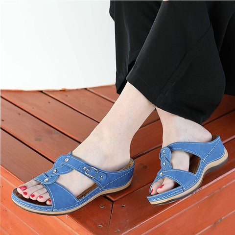 Image of Women Summer Slippers Sewing Open Toe Flat Platform Slides PU Buckle Woman Wedges Sandals Female Casual Hollow Shoes Footwear