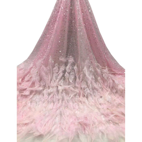 Image of Women dresses African fabric AJY34 beautiful Appliqued feathers sequins very soft design high quality French Tulle Lace Fabric