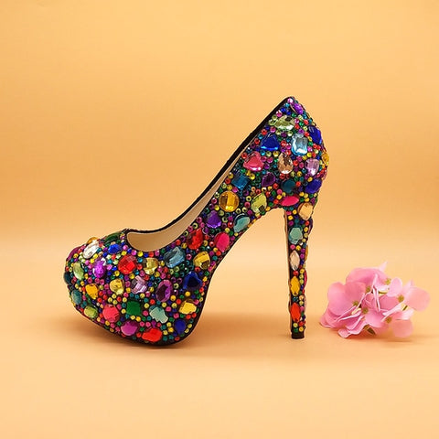 Image of Women wedding shoes with matching bags Multicolored Crystal Thick High heels Ladies Party Dress shoes women Pumps super big size