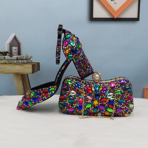 Women wedding shoes with matching bags Multicolored Crystal Thick High heels Ladies Party Dress shoes women Pumps super big size