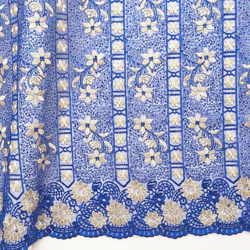 WorthSJLH Beaded Royal Blue Lace Fabric Latest French Laces Fabric High Quality Bridal Net African Lace For Nigerian 2018