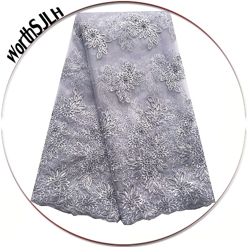 WorthSJLH French Nigerian Lace Fabrics Grey Beads African Lace Fabric 3D Latest African Cord Lace Fabrics High Quality 2018