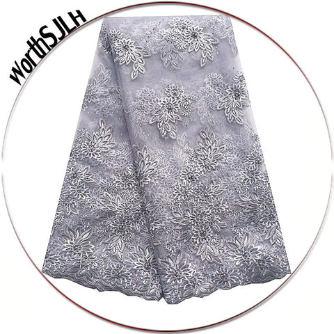 Image of WorthSJLH French Nigerian Lace Fabrics Grey Beads African Lace Fabric 3D Latest African Cord Lace Fabrics High Quality 2018